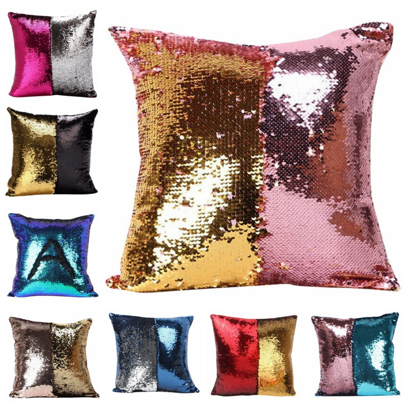 DIY Magic Letter Double Color Glitter Sequins Throw Pillow Case Cafe Home Square Cushion Covers High Quality