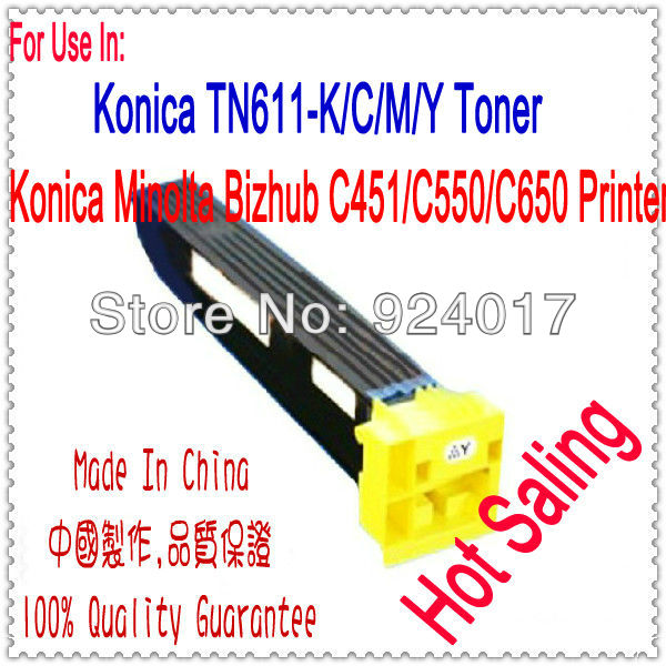 Color Toner For Konica Minolta Bizhub c451 C550 C650 Printer,Refill Toner For Konica C451 C550 Toner K&M 451,For Konica TN611 compatible for minolta tn611k toner used for konica minolta bizhub c451 c550 c650 toner cartridge