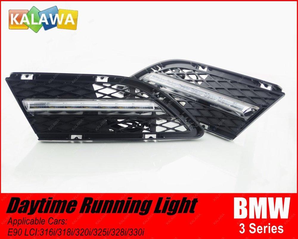 1 pair Car LED Daytime Running Light case for BMW 3 series E90 LCI 328i LED DRL Lamp GGG (FREESHIPPING) high quality light high power led daytime running lights for bmw e90 lci 3 series sedan 15w 2009 2012 freeshipping