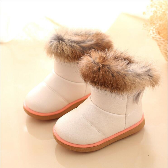76500256305 New Winter Plush Baby Girls Snow Boots Warm Shoes PU Leather Flat With Baby  Toddler Shoes Outdoor Snow Boots Children Kids Shoes