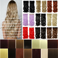 24'' clip in hair extensions 3/4 full head black brown blonde auburn red Curly wavy 16 Any colors style 3-5 day delivery US FAST