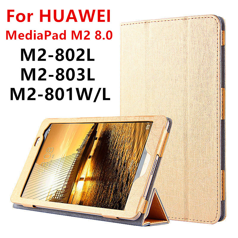 Case For Huawei MediaPad M2 8.0 PU Protective Smart cover Leather Tablet For HUAWEI M2-801W M2-803L M2-802L M2-801L Protector white gold full lcd display touch screen digitizer assembly for huawei mediapad m2 8 0 m2 801l m2 802l m2 803l free shipping