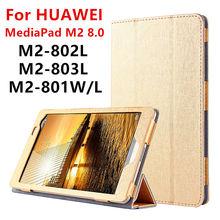 Case para huawei mediapad m2 8.0 pu cuero elegante de la cubierta protectora de la tableta de huawei m2-801w m2-803l m2-802l m2-801l protector