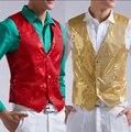 Hot 2015 nueva moda casual hombres traje de lentejuelas vestido del chaleco mostrar cantante ropa de la etapa rojo y oro disfraces discotecas ropa
