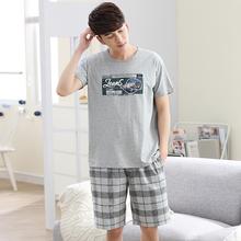 short sleeve cotton men pajamas summer pajama sets men casual plaid shorts gray tops pijamas for