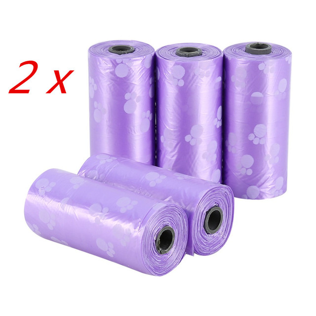 10 Rolls/150 Pcs Degradable Pet Dog Waste Poop Bag With Printing Doggy Bag Pet Waste Clean Poop Bags 4 colors 4