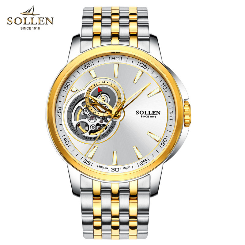 SOLLEN Mens Watches Top Brand Luxury Automatic Mechanical Wristwatches Men Full Steel Business Tourbillon Watch Relogio Masculin top brand luxury men watch full automatic mechanical hollow watches men wristwatches hours clock mens watches relogio masculino