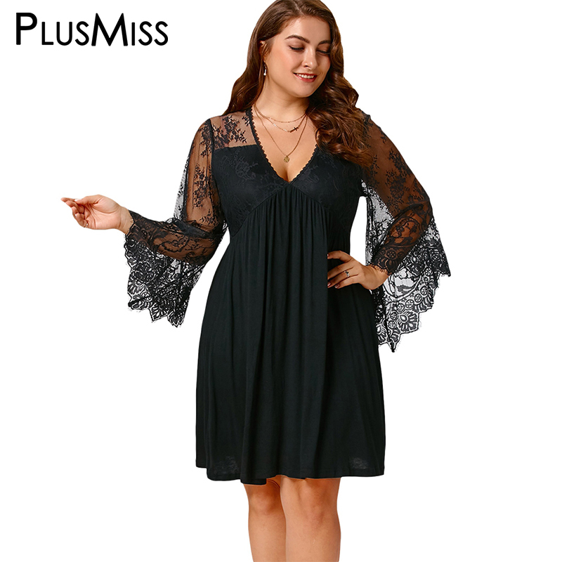 81f4af31929f4 Plus Size 5XL Sexy Lace Crochet Sheer Mesh Dress Women Tunic Deep V Neck  Flare Sleeve Tulle Elegant Party Dresses Big Size-in Dresses from Women s  Clothing ...