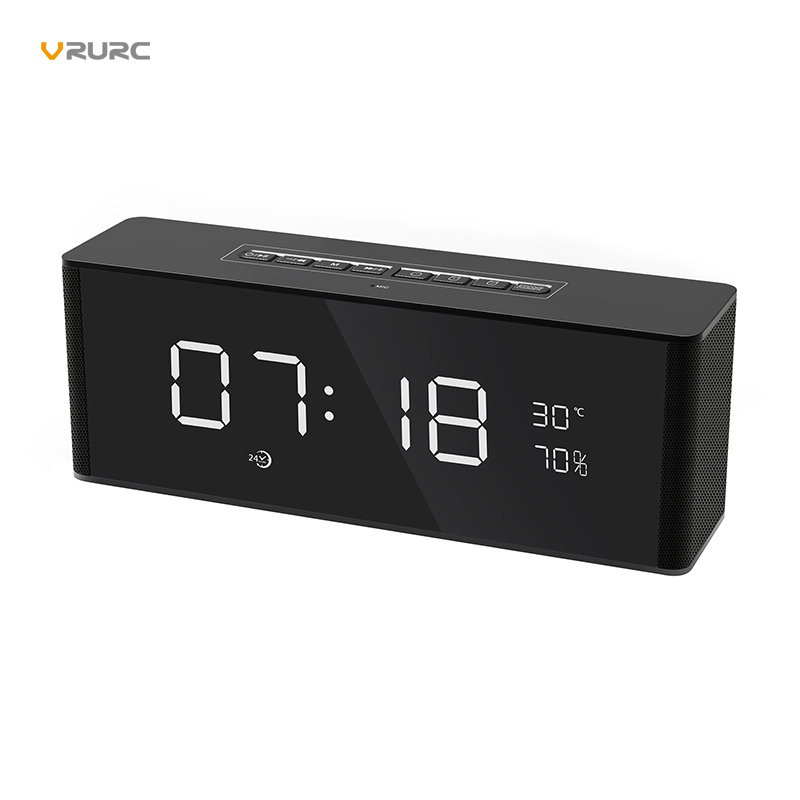 VRURC Portable Bluetooth Speaker Wireless Stereo Subwoofer Music Sound Box LED Time Snooze Alarm Clock Support TF AUX FM Radio portable bluetooth speaker wireless alarm clock music stereo soundbox time display fm radio tf card altavoz speakers for phones