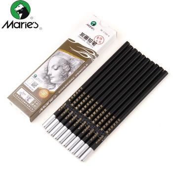 цена на Maries 12Pcs/Box Lead Soft / Neutral / Hard  Charcoal Pencil Black Sketch Drawing Pencils Non toxic Pencil For School