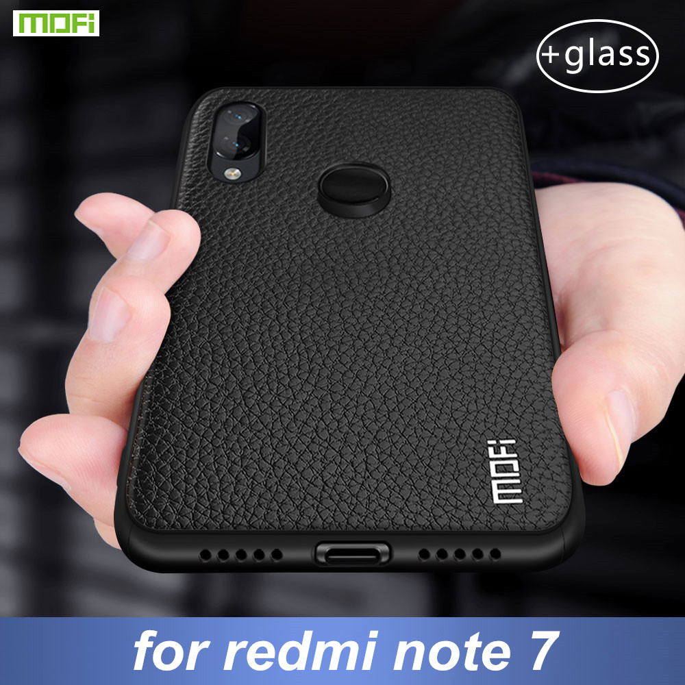 For Xiaomi Redmi Note 7 Case Cover For Redmi Note 7 Pro Case MOFi Silicone Shockproof Case Capas Original PU Leather Folio Coque
