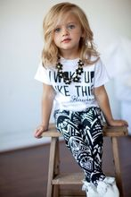2015 Baby Girls Zebra-stripe White T-Shirt+Pants Two-pieces Outfits Set 2-9Y