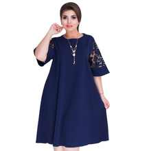 Plus Size Women Clothing 2019 Summer Dress Blue A-line Loose Women Dress Lace Casual Beach Dress 5XL 6XL Large Dress Vestidos - DISCOUNT ITEM  25% OFF All Category
