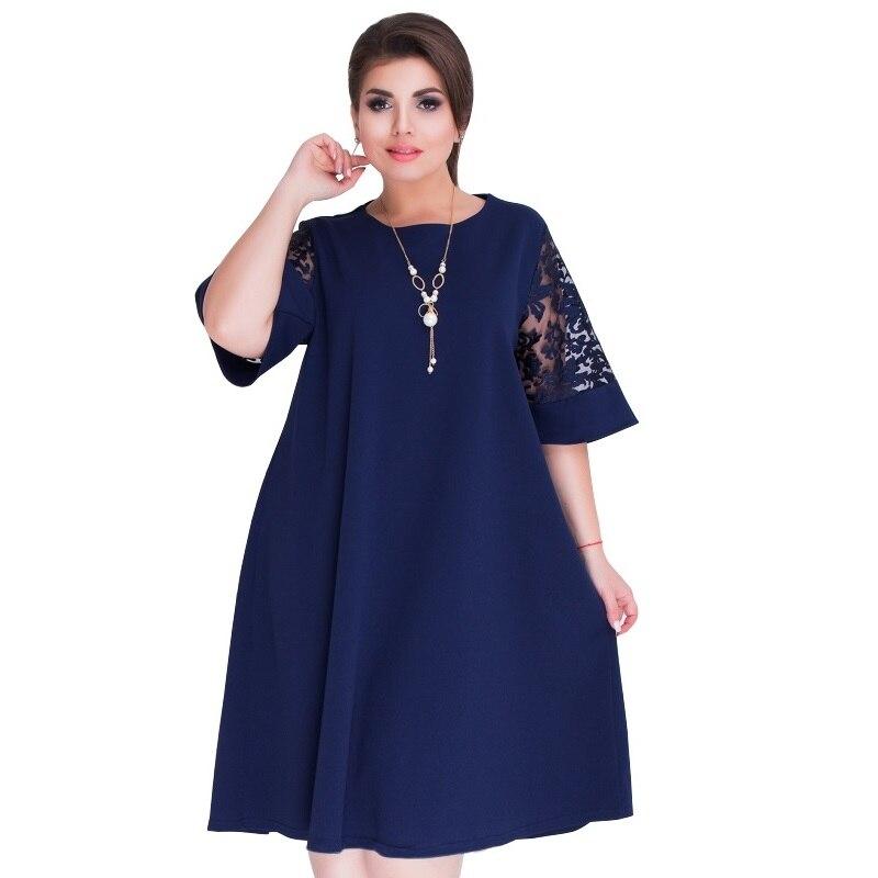 Plus size roupas femininas 2019 vestido de verão azul a linha solta vestido feminino renda casual praia vestido 5xl 6xl vestido grande