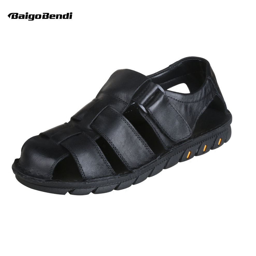 Summer Mens Real Leather Casual Close Toe Hook Loop Sandals Fisherman Outdoor Hollowed-Out Beach Shoes
