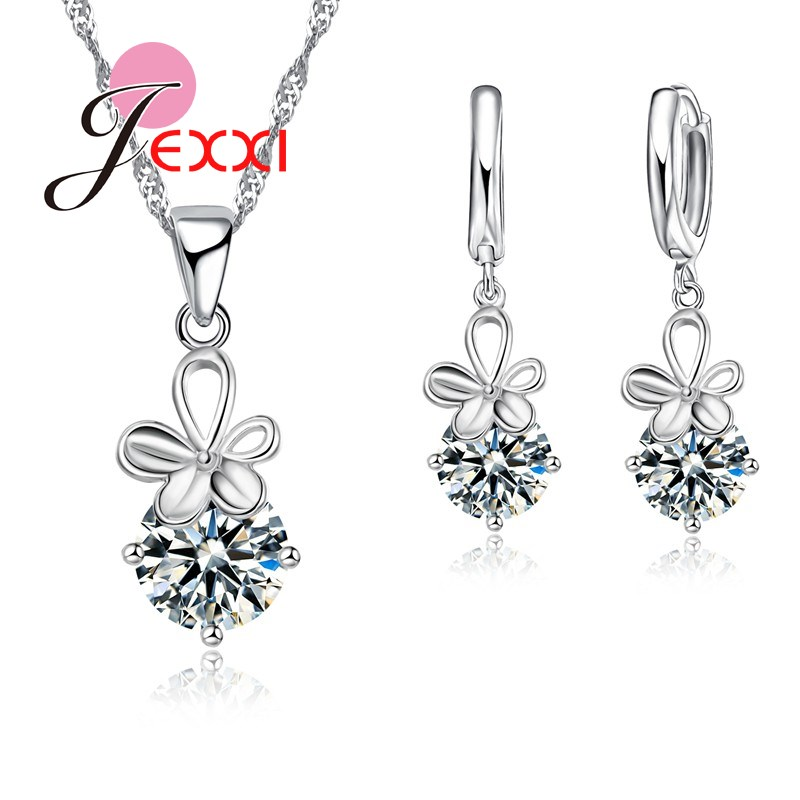 PATICO Shinning CZ Crystal Pendant Jewelry Sets White Flower For Women Gift 925 Sterling Necklace Dangle