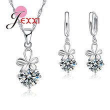 PATICO Shinning CZ Crystal Pendant Jewelry Sets White Flower For Women Gift 925 Sterling Necklace + Dangle/Hoop Earrings Sets