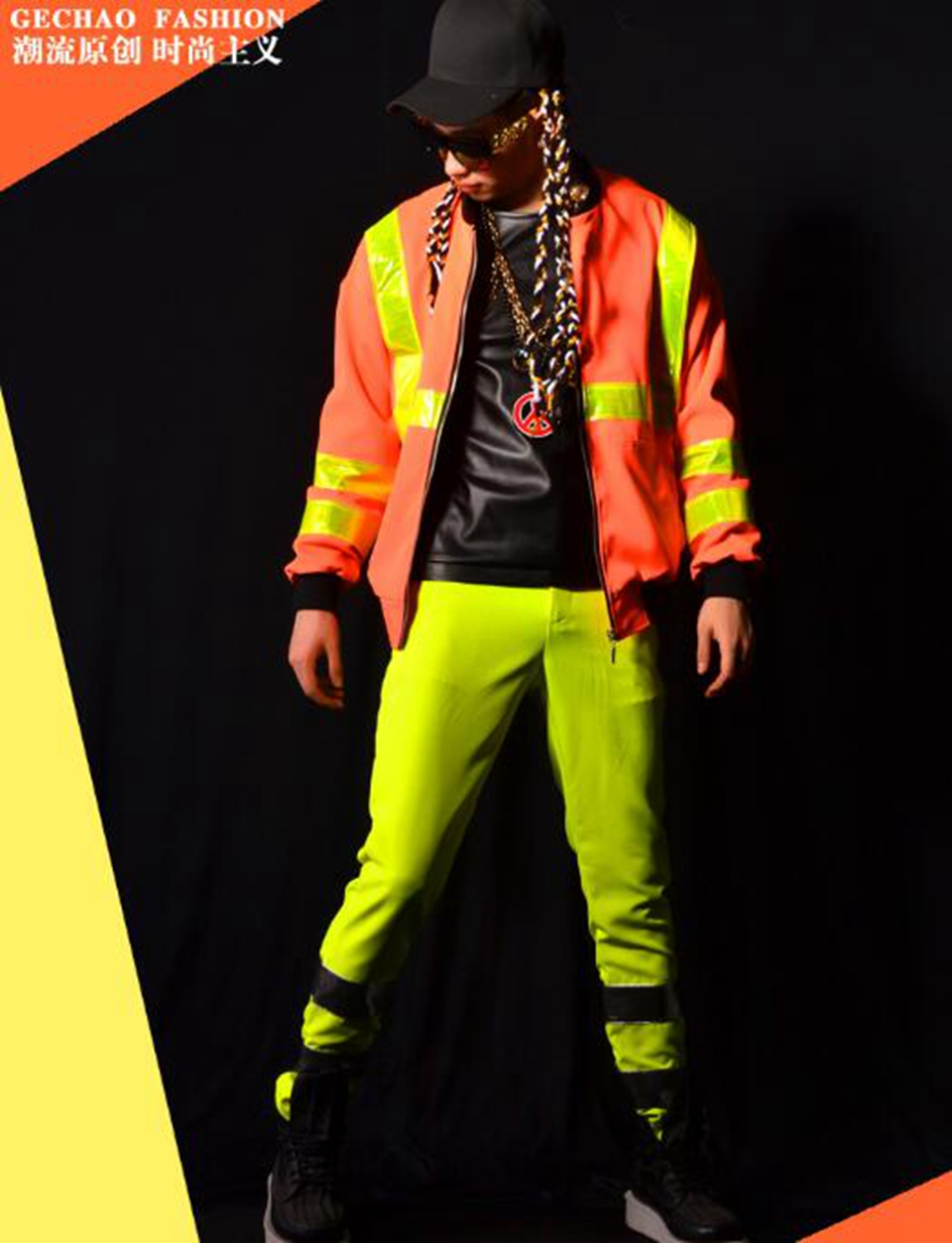 Mens new European and American fashion boutique singer host costumes of England article reflective baseball suit / M-2xL