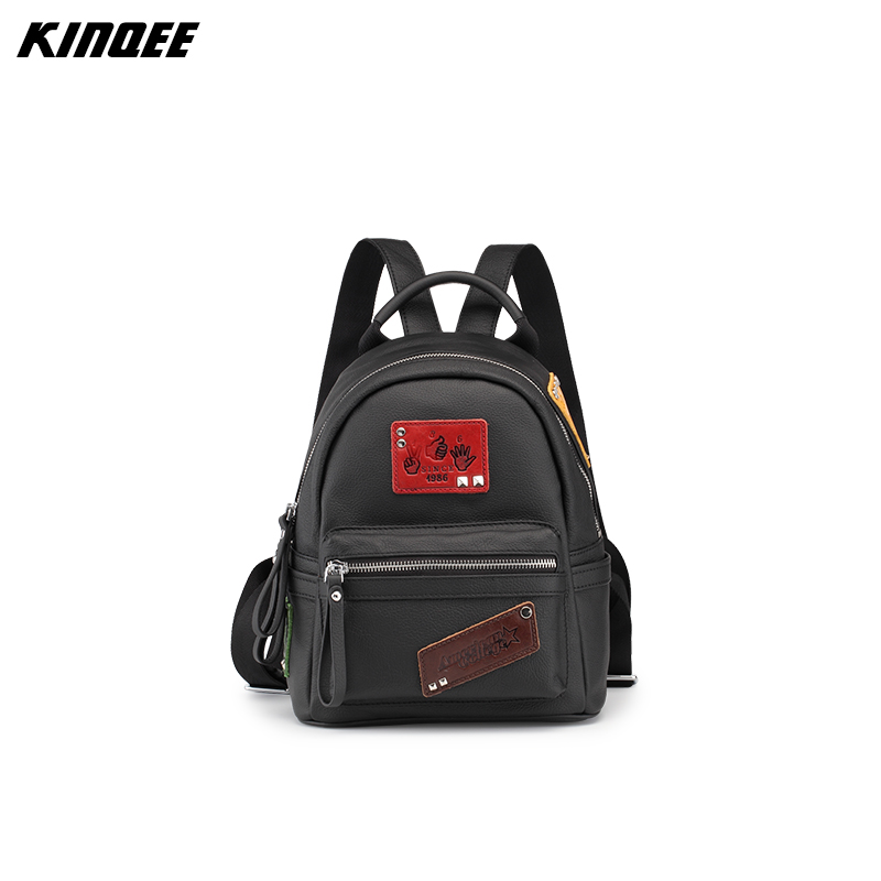 KINQEE Brand Patch Genuine Leather Women Lady Teenage Girls Mini 2017 Fashion New Female bag Quality Vintage Solid Shoulder Bag