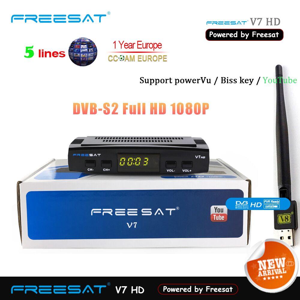 1-jahr Spanien Europa Cline Freesat V7 HD DVB-S2 1080 p Satellite TV Empfänger + USB WIFI Portugal Spanien deutschland TV Tuner PK V8 Super