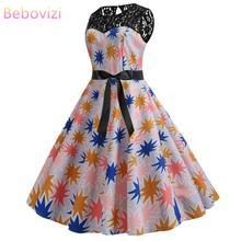 Bebovizi Fashion Women 2019 New Summer Casual Plus Size Dress Party Elegant Vintage Sexy Lace Flower Print Retro Bandage