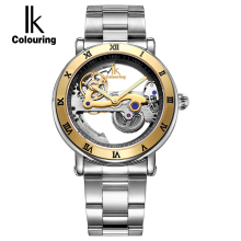IK Hollow Automatic Mechanical font b Watches b font Men Brand Luxury Stainless Skeleton Transparent font