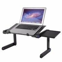 Lega di alluminio Portatile Regolabile Scrivania Lapdesks Tavolo Computer Notebook Stand Con Ventola Di Raffreddamento Del Mouse Bordo Per Bed Divano Vassoio