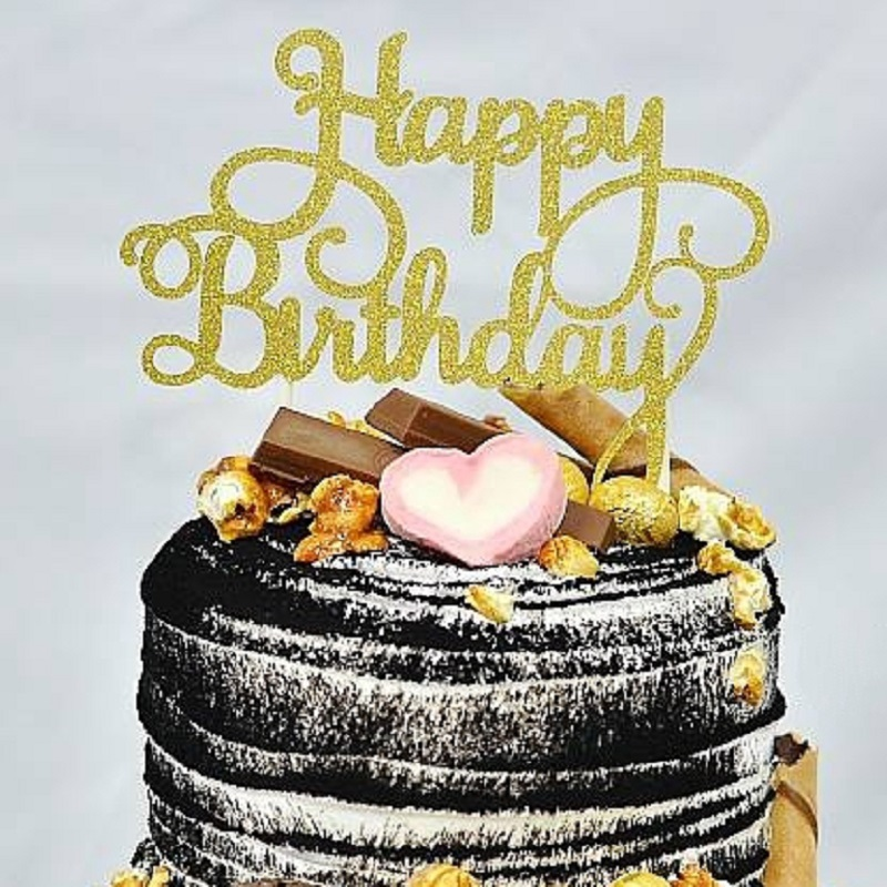 Gold Silver Kids Letter Cake Toppers Happy Birthday Cakes Decor