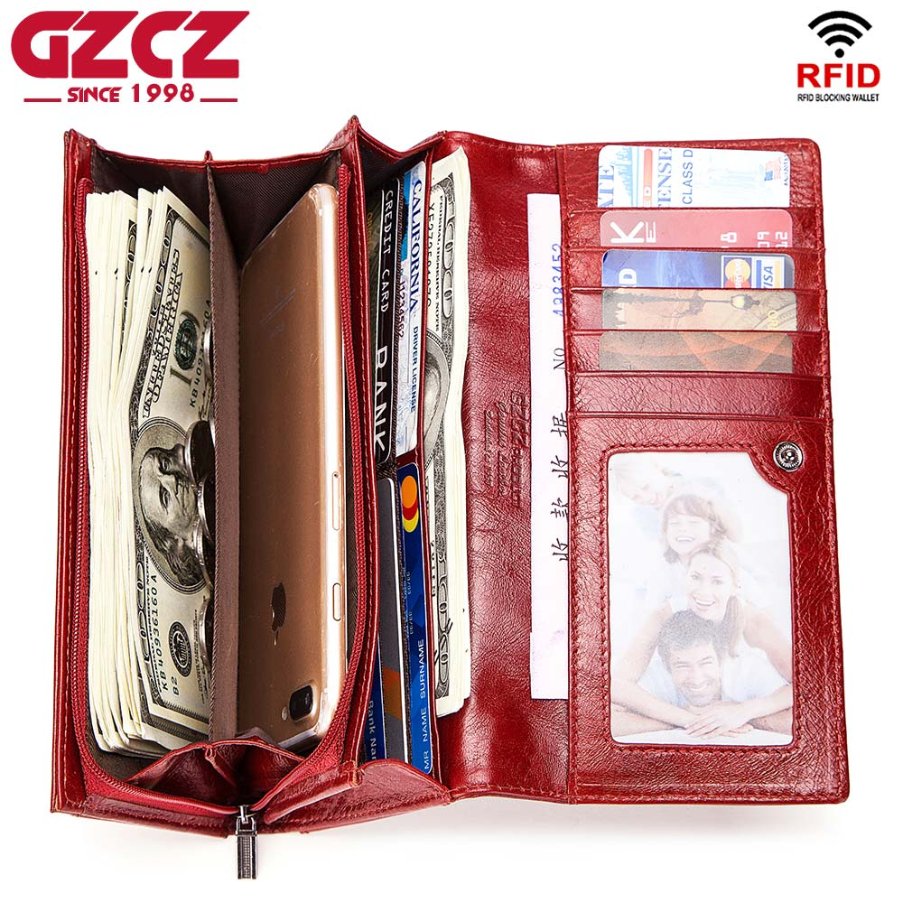 GZCZ Women Genuine Leather Wallets Long Purse Brand Design Handbag for Cell Phone Card Holder Female Clutches Money Bags 2018