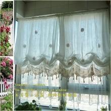 Estilo Pastoral cortina globo ajustable, sala de estar cortina, tratamiento de la ventana blanca, cortinas para las ventanas