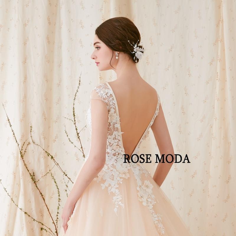 Rose Moda Modern 3D Blommigt Bröllopsklänning Låg V Tillbaka - Bröllopsklänningar - Foto 6