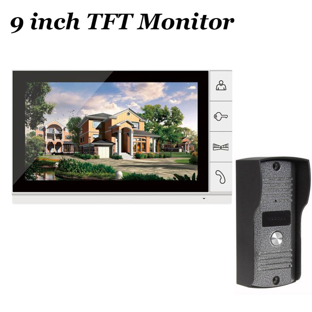 FREE SHIPPING Home Security 9 inch TFT LCD Monitor Video Door phone Intercom System With Night Vision Outdoor Camera IN STOCK freeship 10 door intercom security system hands free monitor color tft lcd screen intercom system video door phone for villa