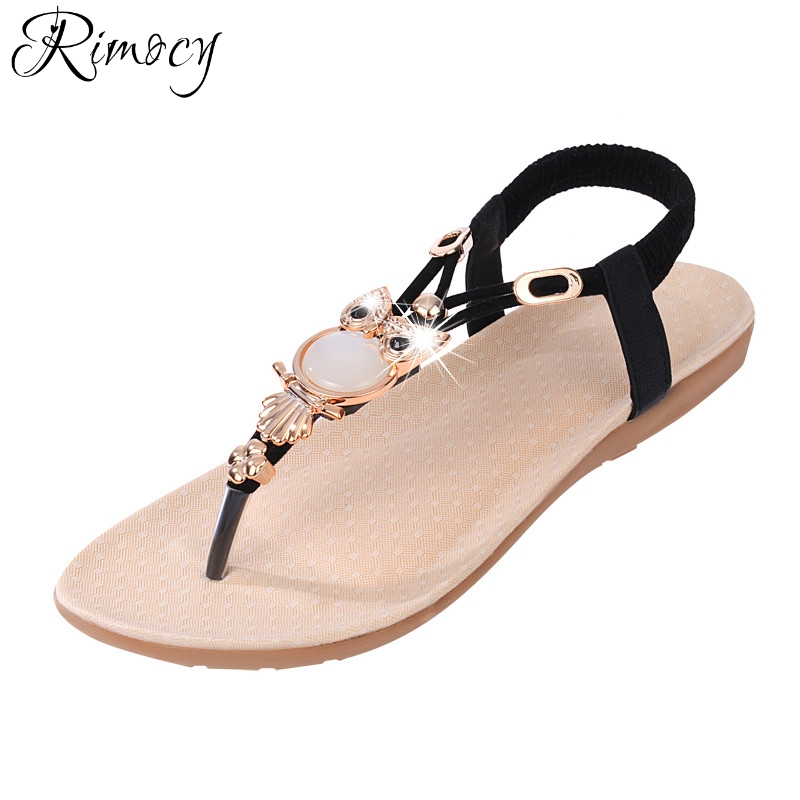 Rimocy Ladies Summer Bohemia Beach slides Flip Flops 2017 fashion womens flat heels bead black elastic sandals shoes woman flats