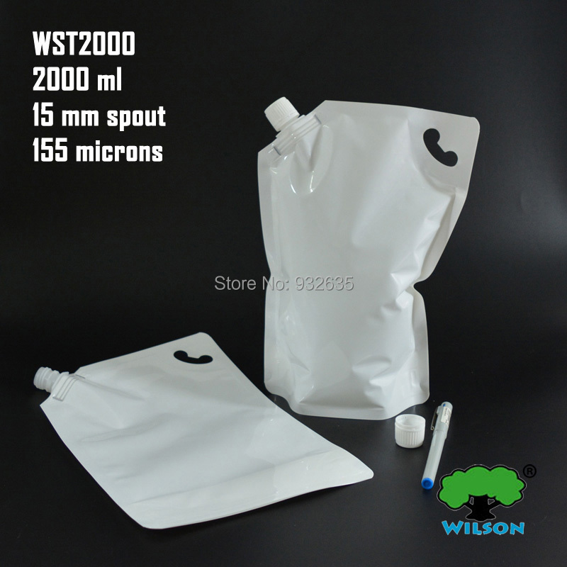 (2000 ML) WST2000 White Color Stand UP Spout Bag 20 PCS, Sauce Laundry detergent Bathing ...