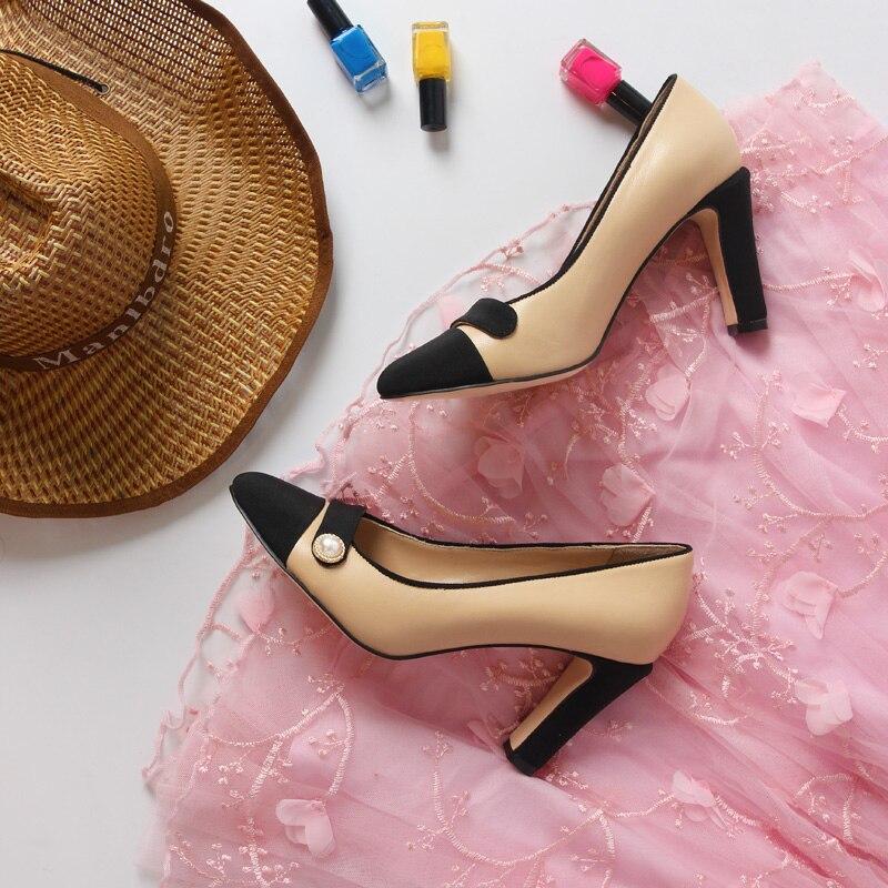Con Pic Descuento Desnudo Pic Grande Mujeres As Boda Zapatos Real Feminino Cuero as Y Bombas Mujer Sapato Negro Tamaño Tela De qRaRSIFw