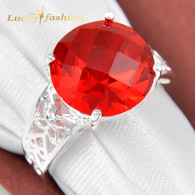 Classic Promotion Jewelry Round Red Quartz Silver Plated Wedding