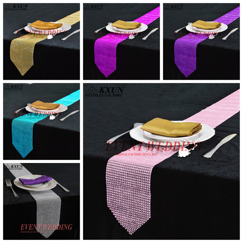 Wholesale Price Diamond Table Runner Mesh Rhinestone Table Runners Wedding Party Decorations Home Table Accessories