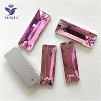 YANRUO 3255 All Sizes Rose Cosmic Baguette Sew On Strass Glass Sewing Stones Crystal Flat Back Rhinestone For Jewelry
