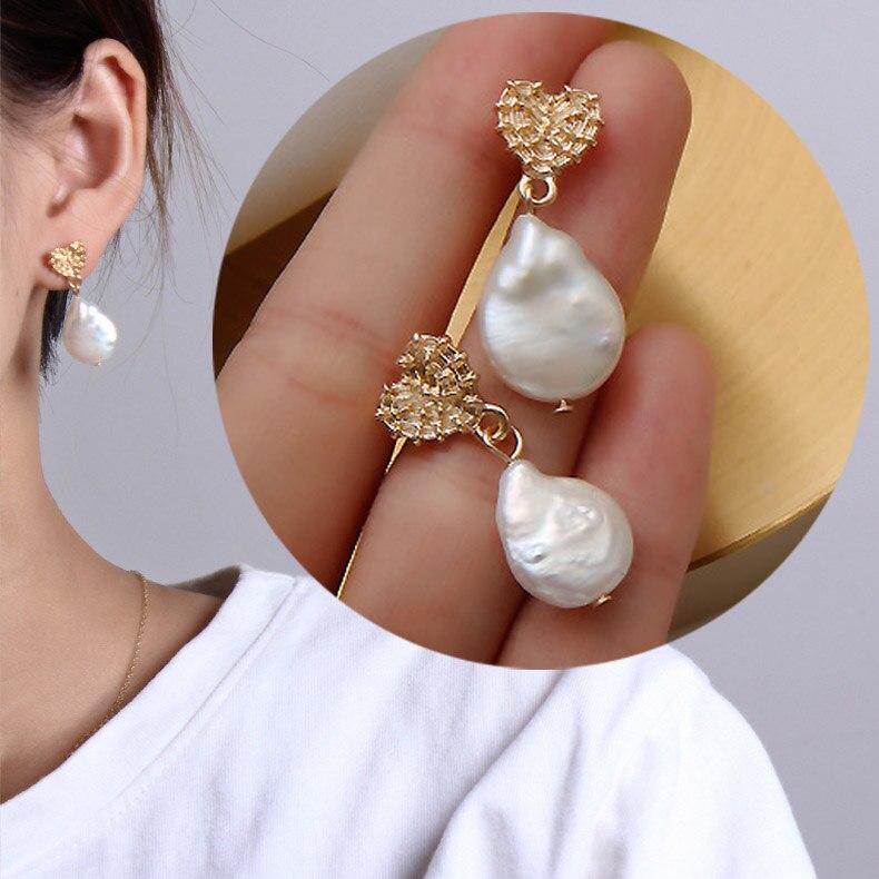 3a54831a397a Agua Dulce barroco Irregular Natural colgante de perlas pendientes para las  mujeres tallado corazón pendientes de boda joyería de la joyería de regalo