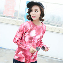 new autumn Korean products printing distinctively flower identification jackets o-neck collar hoodies women