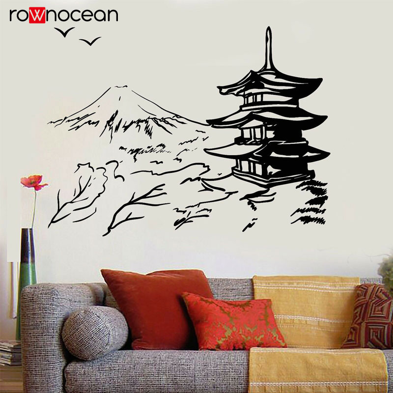 Japanese Building Pagoda Japan Landscape Asian Art Oriental Wall Sticker Vinyl Home Decor Living Room Decal Removable Mural 3475