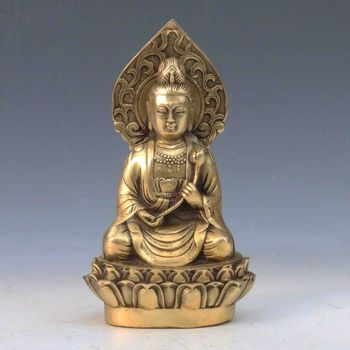 Chinese Antique Brass Hand-carved Guanyin statue Qing Dynasty
