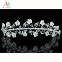 Павлин звезда подружки невесты свадебные белые Керамика цветок оголовье тиара ct1397