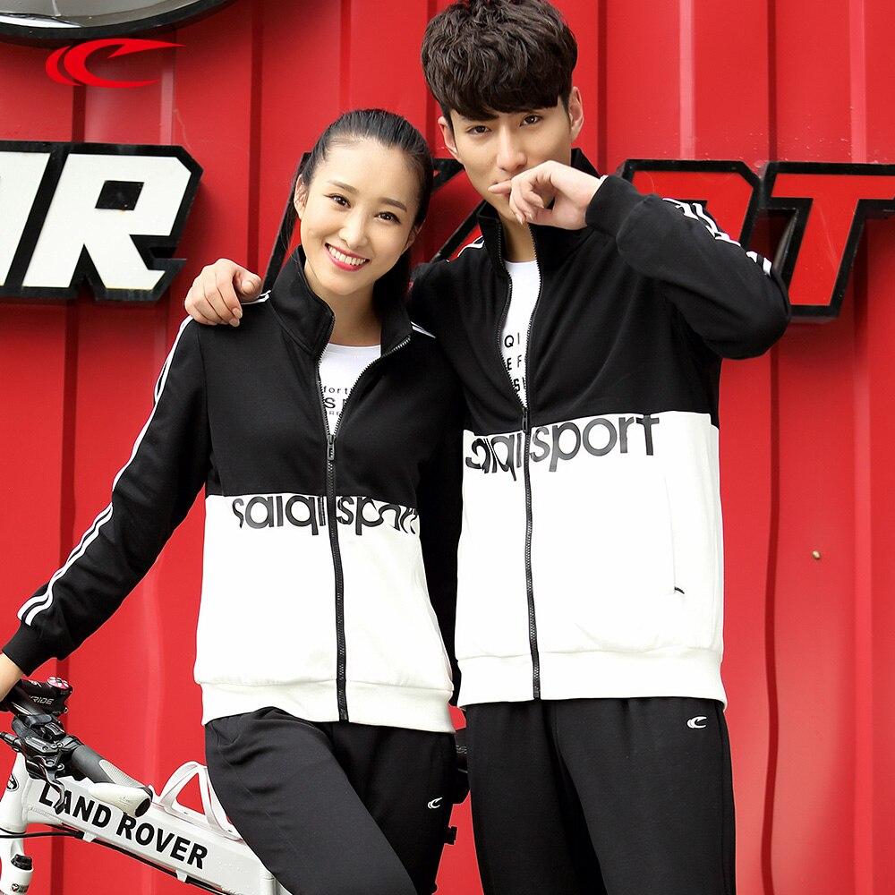 SAIQI 2017 Winter Lovers Sport Suits Men Women Comfortable Outdoor Running Sets Jogging Suit Men Women Fitness Gym Couples 0921