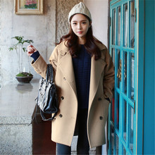 Autumn/Winter Women's Outerwear Loose Fashion Woolen Coat Lapel Jackets Female Casual Wool Coat Overcoat Women C1185
