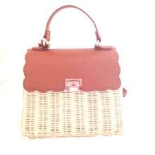 2019 summer Womens portable diagonal handbag luxury rattan leather lock stitching handmade woven beach bag sac main