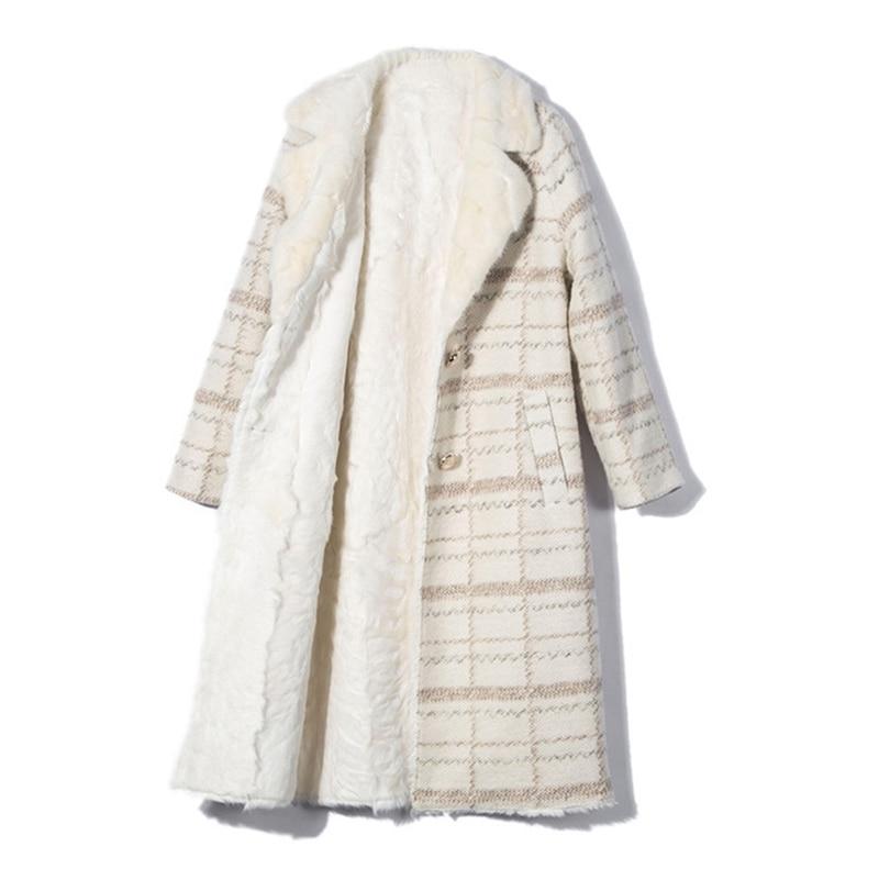 Beige Femmes Réel D'agneau Long De Femelle Automne Milieu Intérieur Veste Chaud Karakul Col Moutons Fourrure Outwear Nouveau Laine Vison 2018 Manteau w8YfqRq