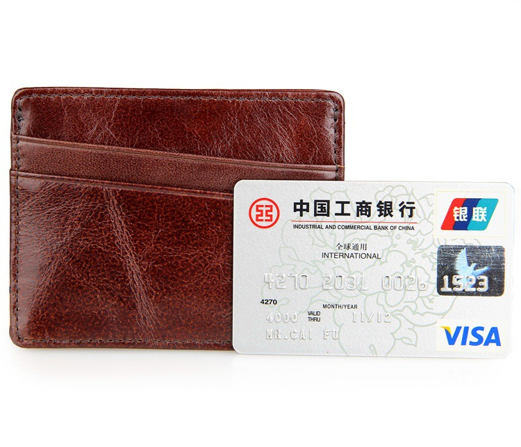 Fashion Classical Quality Brown Coffee Color Men Women Holders Pack Genuine Leather Casual Business Credit Card