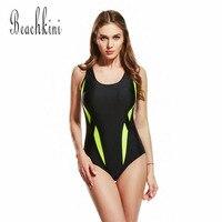 Sport Bodysuit New One Piece Swimsuit Athletic Swimwear Women Backless Bathing Suits Push Up Monokini Patchwork