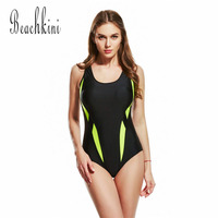 Sport Bodysuit New One Piece Swimsuit Athletic Swimwear Women Backless Bathing Suits Push Up Monokini Patchwork